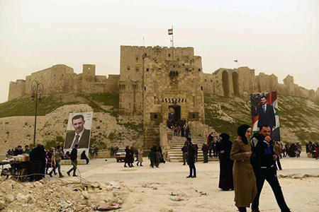 Aleppo, come si presenta oggi l'antico palazzo medievale fortificato