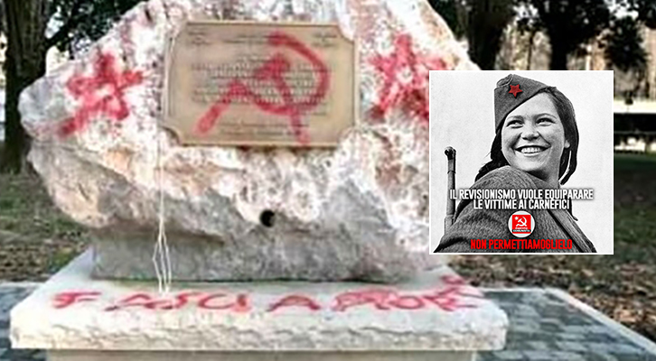 Monumento in ricordo della tragedia delle Foibe vandalizzato dai comunisti