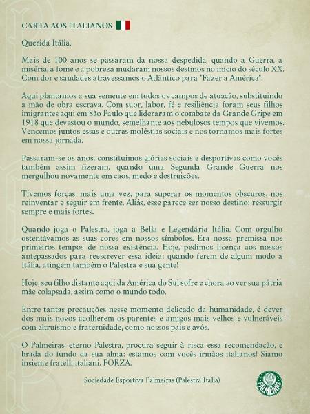 La lettera aperta della società sportiva Palmeiras agli italiani