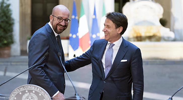 Charles Michel, presidente del Consiglio d'Europa, con il premier Conte