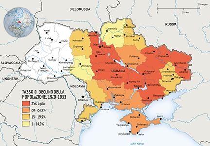 Holodomor. La mappa del declino della popolazione in Ucraina dal 1929-1933