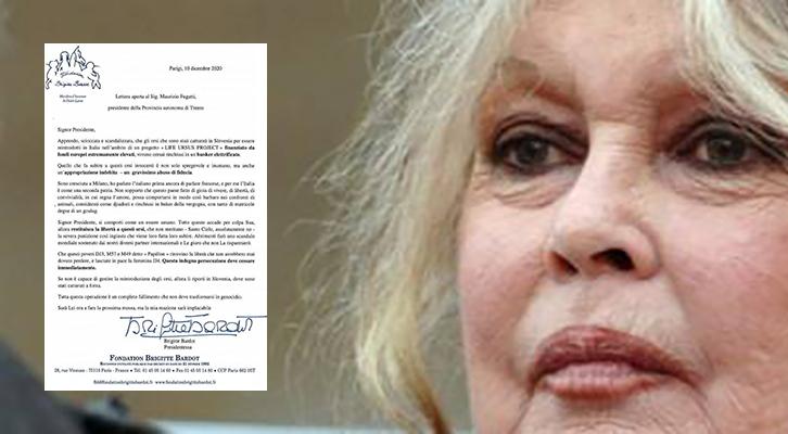 Lo schiaffo di Brigitte Bardot <br>al presidente Fugatti