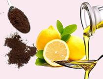 Uno scrub per la pelle, con olio, limone e caffè