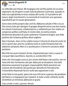 Il post di Nicola Zingaretti su Facebook